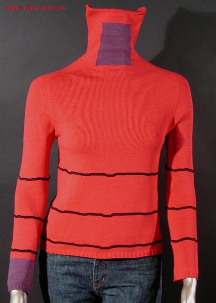 Three colour pullover with saddle shoulder / Dreifarbiger Pullover mit Sattelschulter