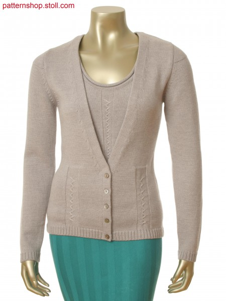 Stoll-flexible gauge&reg 7 gauge optic Fully Fashion cardigan with float structure in zig zag optic