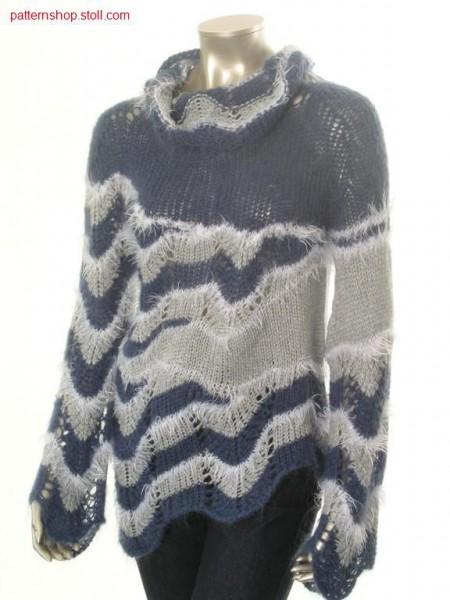 Ringed, asymmetric-shaped jersey pullover / Geringelter, asymmetrisch geformter Rechts-Links Pullover