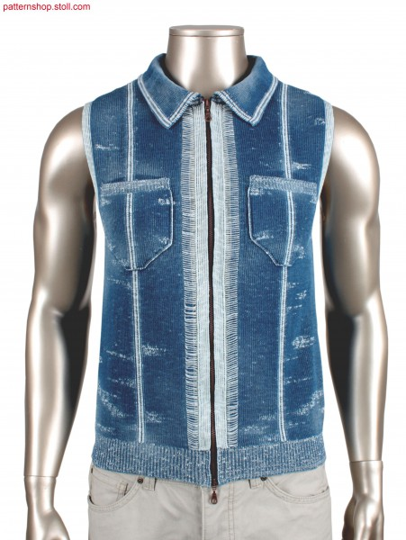 Fully Fashion waistcoat in 1x1 rib tuck structure / Fully Fashion Weste in 1x1 Ripp-Fangstruktur