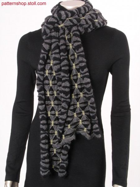 Ringed scarf with gathering by elastic thread / Geringelter Schal mit Raffungen durch Elastikfaden