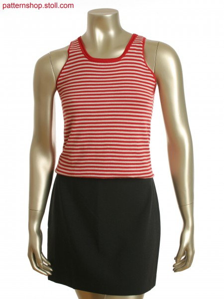 Double layered sleeveless vest with single jersey,stripes on top layer