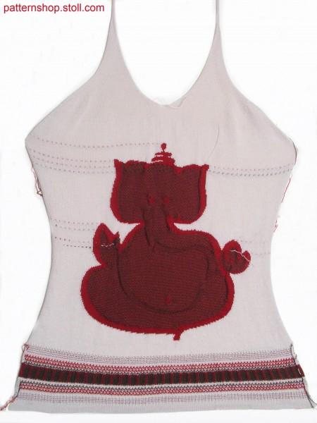 Fitted Fully Fashion Intarsia halter-neck front / Tailliertes Fully Fashion Intarsia Vorderteil mit Nackentr