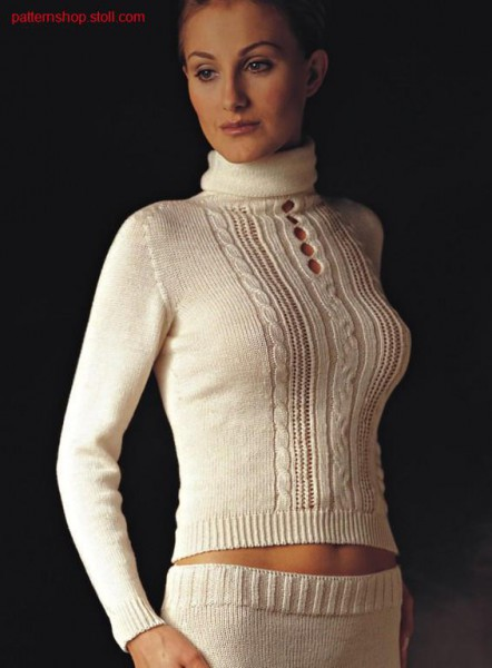 Pullover with cables and petinet. Pullover mit Z