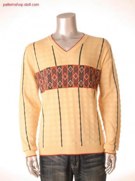 Intarsia pullover with 4-colour jacquard bordure / Intarsia-Pullover mit 4-farbiger Jacquardbord