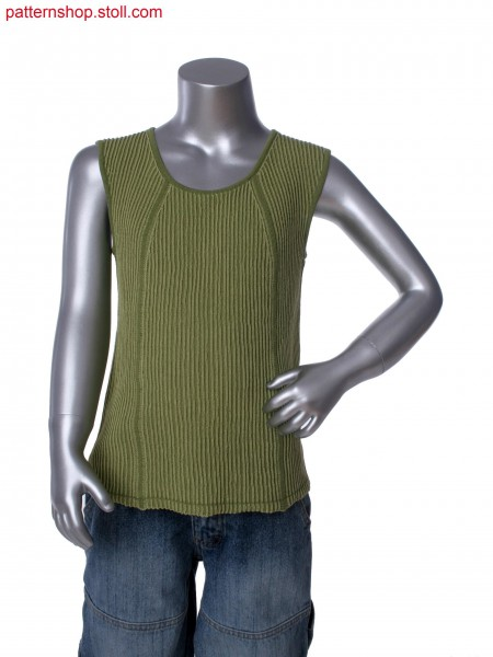 Fully Fashion sleeveless pullover with plating technique in 1x3 rib