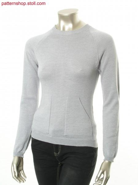 Raglan pullover with diagonal opening patch pockets / Raglanpullover mit aufgesetzten Taschen mit schr