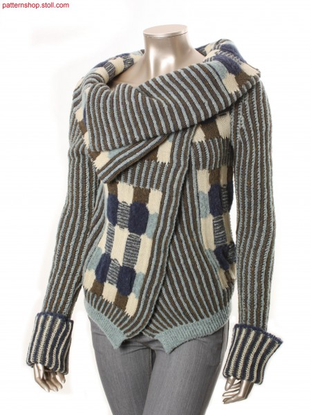 Fully Fashion cardigan with different multicolour jacquard/ Fully Fashion Strickjacke mit verschiedenen Bunt-Jacquards