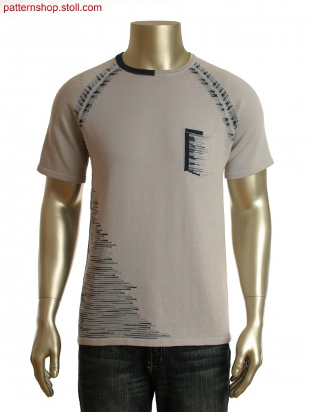 Fully Fashion intarsia T-shirt with integrated pocket
