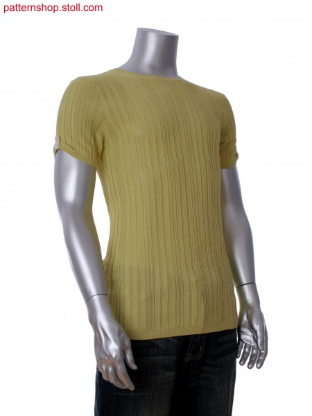 Fully Fashion short sleeve T-shirt in multi structure. Integrated sleeve tab with button hole in intarsia.