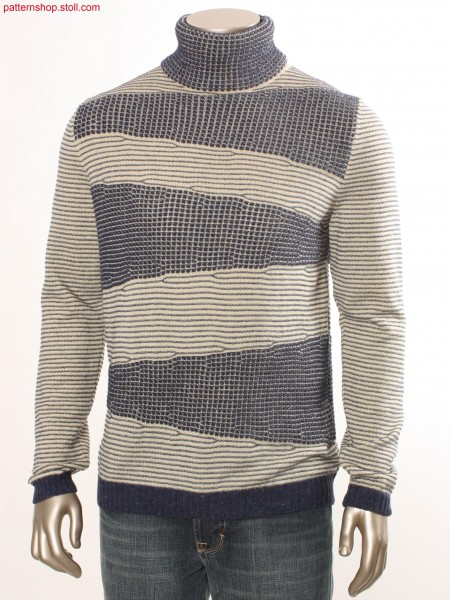 Striped Fully Fashion pullover with naps pattern / Geringelter Fully Fashion Pullover mit Noppenmusterung