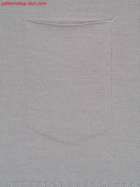 Jersey knitted fabric with patch U-pocket / Rechts-Links Gestrick mit aufgesetzter U-Tasche