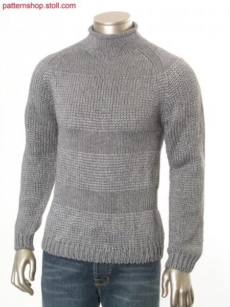 Raglan pullover with horizontal jersey stripes / Raglanpullover mit Rechts-Links-Ringeln