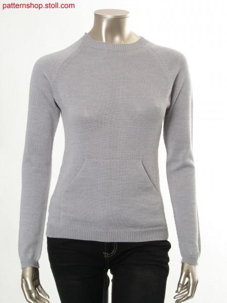 Jersey raglan pullover with patch kangaroo pocket / Rechts-Links Raglanpullover mit aufgesetzter K