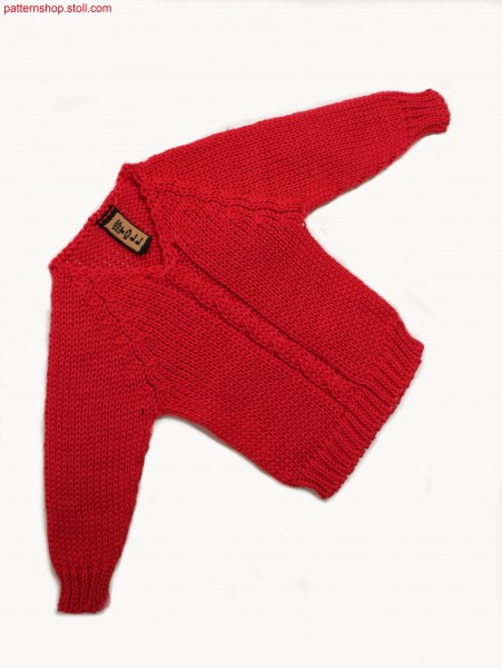 Jersey mini raglan pullover with 2x2 / Rechts-Links Mini-Raglanpullover mit 2x2-Zopf