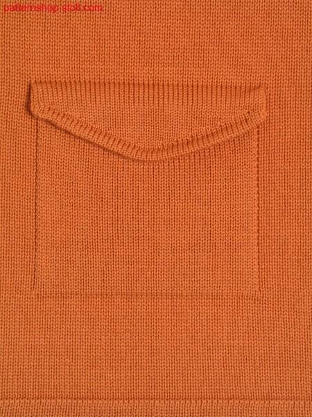 Jersey knitted fabric in 1x1 technique with flap pocket / Rechts-Links Gestrick in 1x1 Technik mit Klappentasche