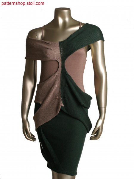 Fully Fashion top knitted in one piece, layer technology with pleats, shaping by goring