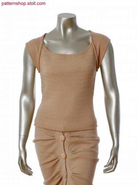 Fully Fashion top with front on weave optic with aran, cap sleeves and back in single jersey
