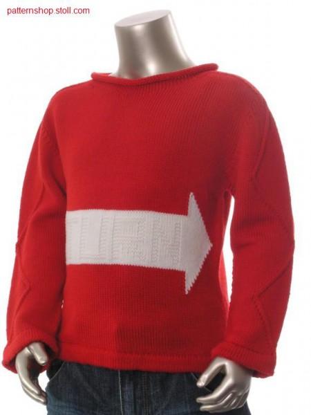 Jersey-Intarsia children's pullover with purl script / Rechts-Links-Intarsia Kinderpullover mit Links-Links Schrift