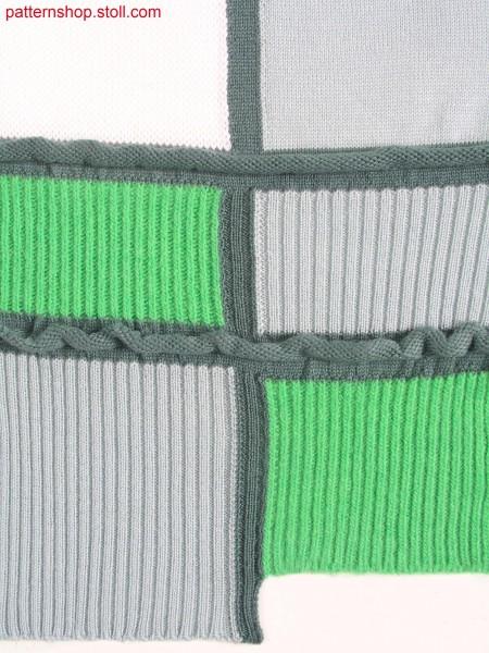 Intarsia swatch with hem starts at different heights / Intarsia Musterausschnitt mit unterschiedlicher Anfangsh
