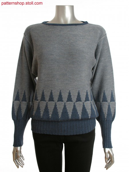 women's loose batwing sweater with relief jacquard motif