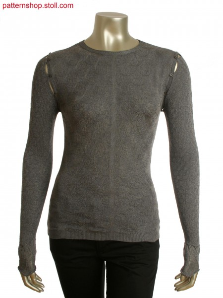 Fully Fashion top in interlock and rib structure. Detachablesleeves with integral button loops.