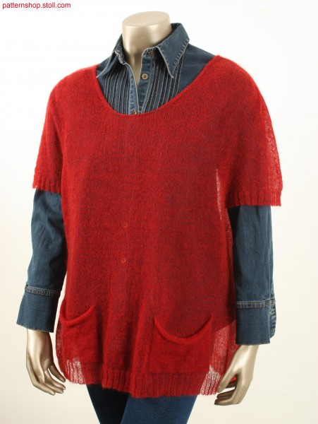 Long jersey pullover with knitted-on patch pockets