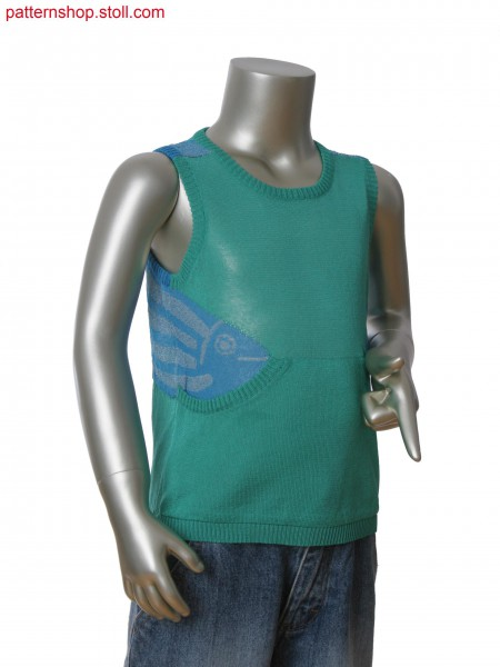 Fully Fashion 3-color tank top with pocket and intarsia jacquard