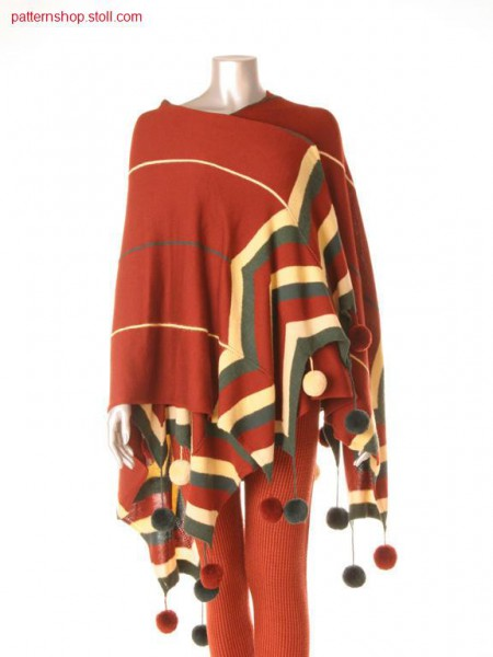 Fully Fashion-Intarsia jersey cape / Fully Fashion-Intarsia Rechts-Links Umhang