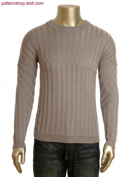 Fully Fashion round neck pullover with relief jacquard in degrade optic