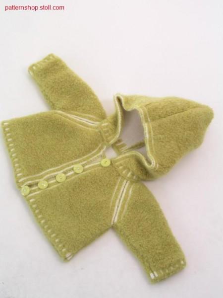 FF baby's raglan cardigan with hood / FF Babyraglanstrickj