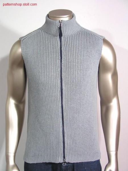 Waistcoat knitted in 1x1 Rib / Weste in 1x1 gestrickt.