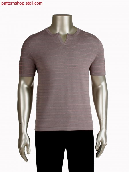 Stoll-applications&reg, Fully Fashion T-shirt, 2 color float stripes in intarsia technique, integrated placket