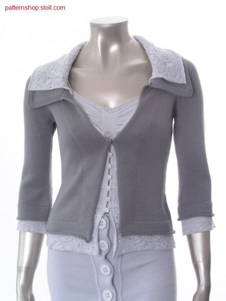 Fitted FF-jersey cardigan with 2 layers technique / Taillierte FF-Rechts-Links Strickjacke mit 2 Lagen Technik