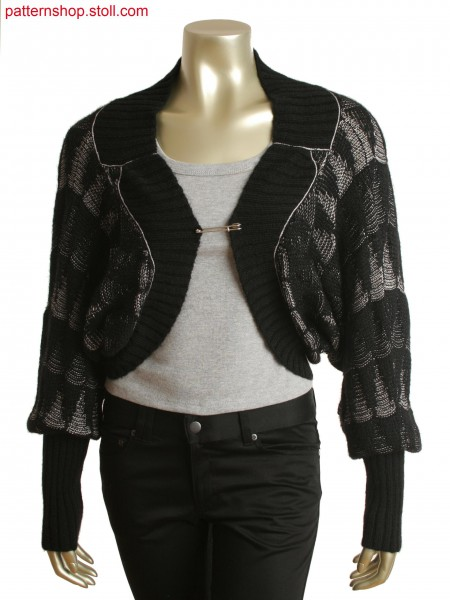 Fully Fashion bolero jacket with 2-color relief jacquard in 1x1 technique and tandem knitting