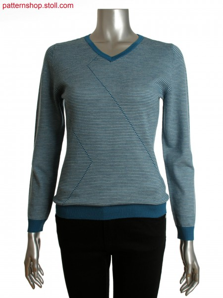 Fully Fashion women's fine striped V-neck sweater with linear design on front