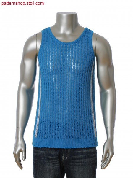 Fully Fashion 2-color intarsia tank-top. Open work pattern with floats.