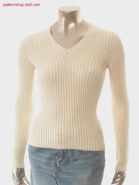 Pullover in 2x2 rib with inserted sleeves / Pullover in 2x2 Rippe mit eingesetzten