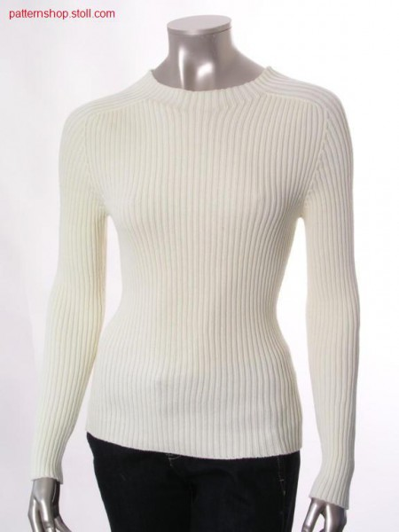 Fitted pullover in 2x2 rib with inserted sleeves / Taillierter Pullover in 2x2 Rippe mit eingesetzten