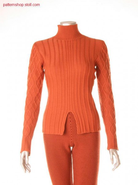 Fully Fashion pullover with ribs in half-tubular imitation /Fully Fashion Pullover mit Rippen in Halbschlauch-Imitation