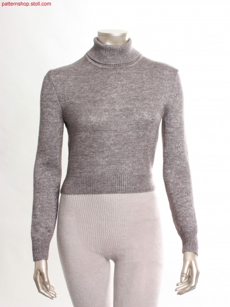 Short Fully Fashion jersey turtle-neck pullover /Kurzer Fully Fashion Rechts-Links Rollkragenpullover