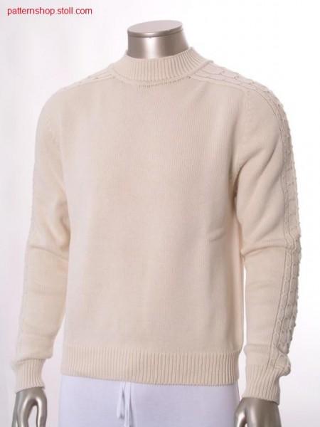 Jersey pullover with saddle shoulder / Rechts-Links Pullovermit Sattelschulter