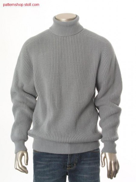 Pullover in half-cardigan with saddle shoulder and turtle neck / Perlfang-Pullover mit Sattelschulter und Rollkragen