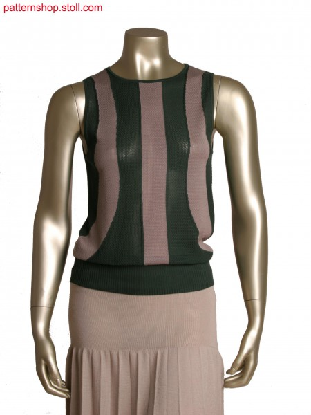 Fully Fashion sleeveless top, 2 colour intarsia with tuck stitch structure