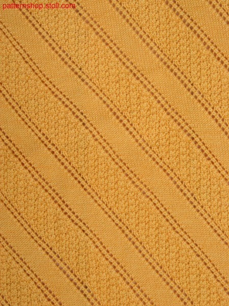 moss stitch variation with diagonal pointelle lines