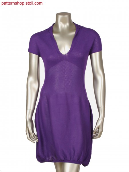 Fully Fashion dress with integrated neckline, 1x1 rib, float and tuck structure, Power Tension Settings as support