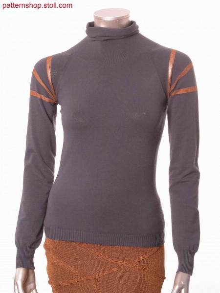 Raglan pullover with gored and ringed sleeves / Raglanpullover mit gespickelten und geringelten