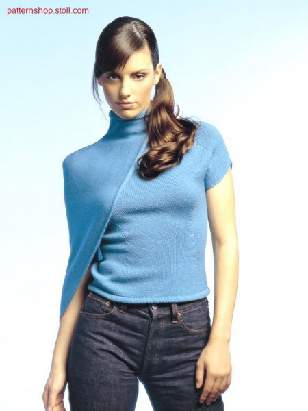 Fitted asymmetric jersey top with knitted on cape / Tailliertes asymmetrisches Rechts-Links Top mit angestricktem Cape