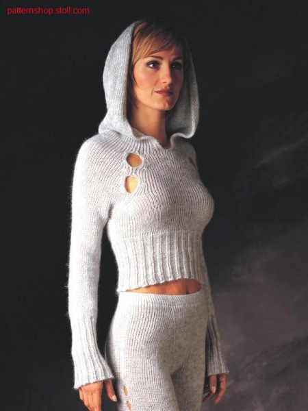 Pullover with knitted on hood.