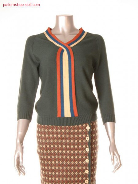 Fully Fashion-Intarsia pullover with integral trimming / Fully Fashion-Intarsia Pullover mit integrierter Halsblende